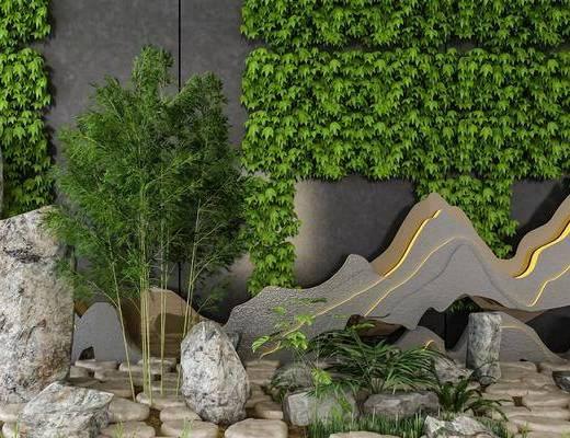 景观小品, 园艺小品, 植物墙, 绿植植物, 中式