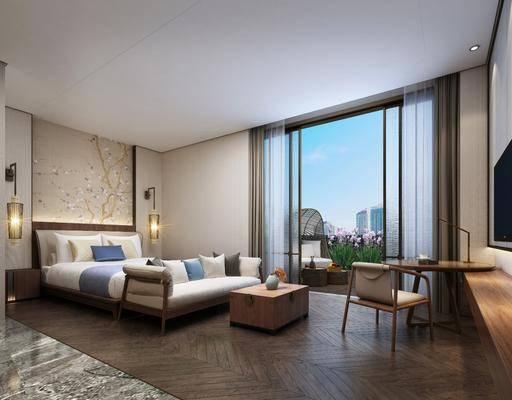 新中式, 酒店, 客房, 双人床, 床具组合