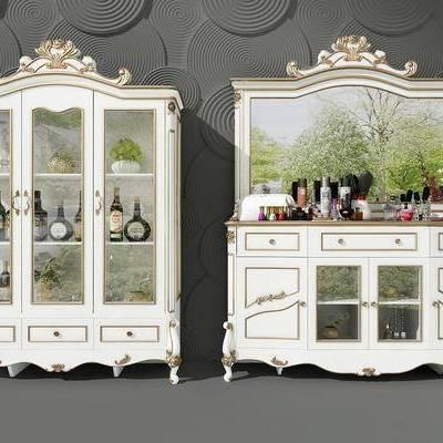 酒柜, 梳妆台, 简欧, 法式, 欧式, 镜子, 化妆品, 红酒, 酒瓶
