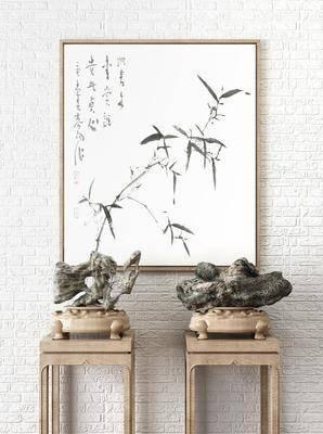 摆设, 石雕, 雕像, 装饰画, 新中式, 中式