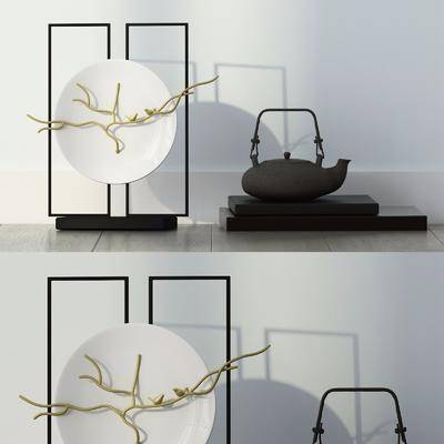 茶壶, 摆设组合, 陶瓷器皿, 现代