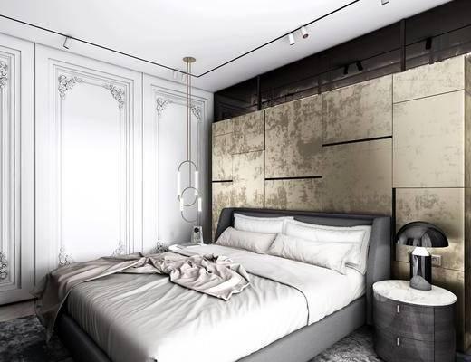 床品, 床头柜灯具, 梳妆台, 壁镜, 吊灯, 单人床