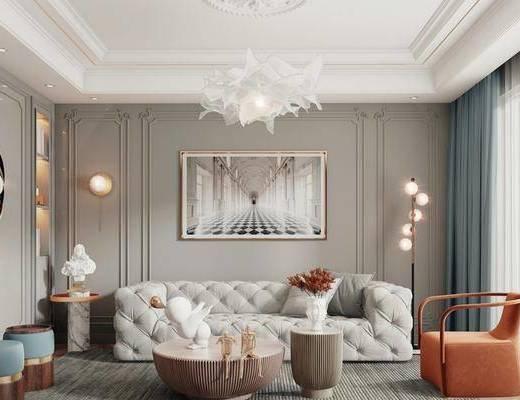 沙发组合, 装饰画, 吊灯, 墙饰, 单椅, 地毯, 壁灯