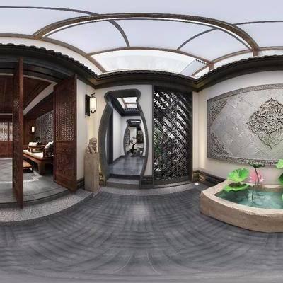 中式茶室, 中式, 茶室, 过道, 水池, 荷花