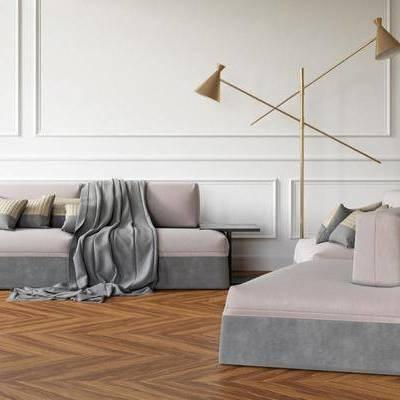 沙发组合, 双人沙发, ?#23478;?#27801;发, 圆弧沙发, 落地灯, 边几, 北欧