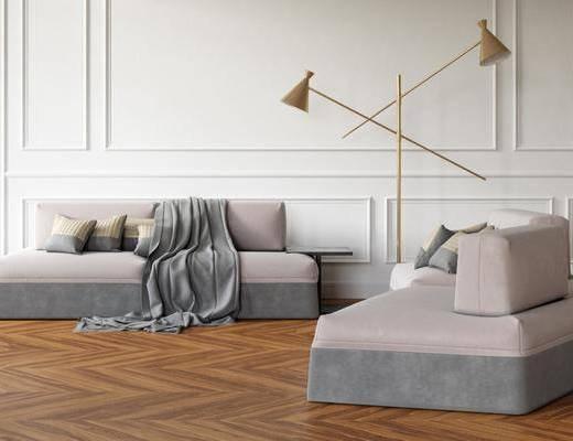 沙发组合, 双人沙发, 布艺沙发, 圆弧沙发, 落地灯, 边几, 北欧