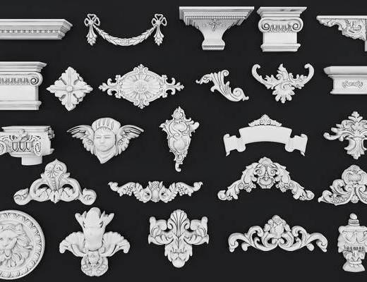 石膏线, 欧式雕花, 雕花, 线条, 欧式