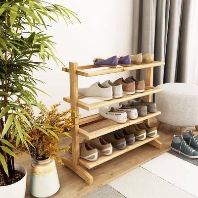 鞋架, 鞋子, 绿植, 凳子, 地毯