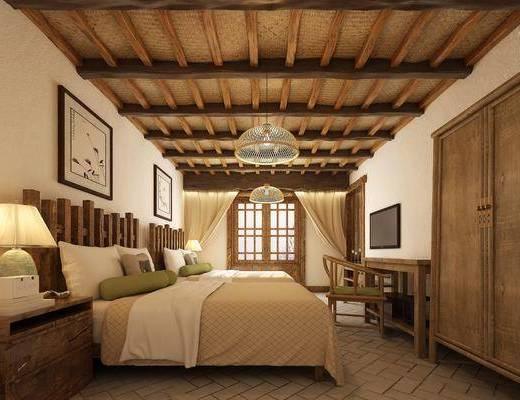 民宿客房, 卧室, 床具组合, 挂画组合, 吊灯组合, 新中式