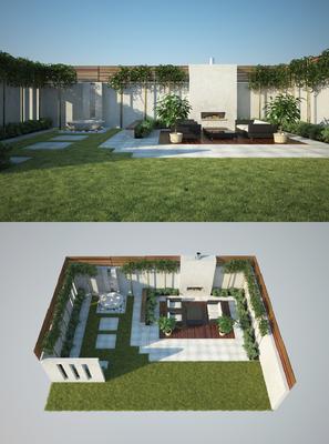 花园庭院, 双人沙发, 单人沙发, 茶几, 盆栽, 绿植, 植物, 草地, 现代
