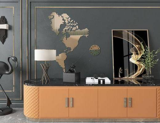 电视柜, 摆件组合, 装饰品