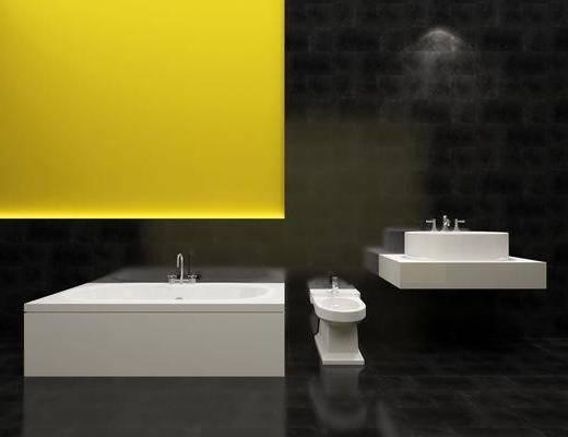 卫浴洁具, 卫浴组合, 洗手台, 马桶, 现代