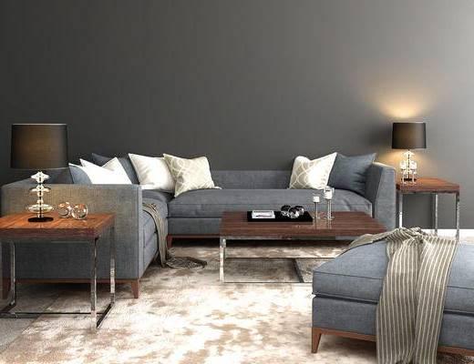 现代, 简约, 沙发, 多人沙发, 茶几, 台灯, 案几