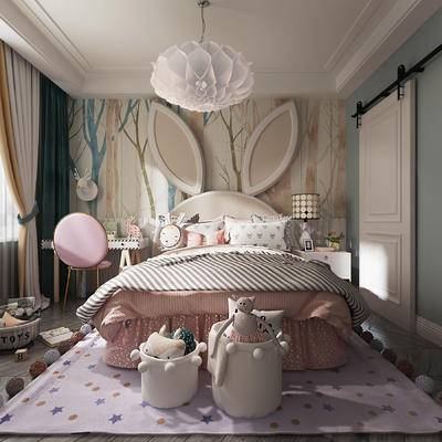 单人床, 背景墙, 书桌, 床具组合, 台灯, 床头柜, 吊灯