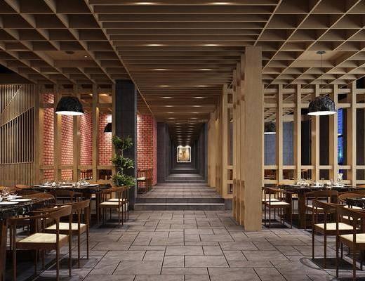 餐厅, 新中式餐厅, 桌椅组合, 餐桌, 单椅, 隔断, 植物, 盆栽, 新中式