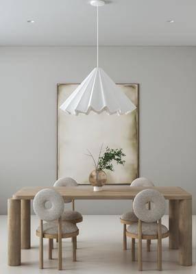 北欧餐厅, 餐桌椅, 吊灯, 挂画