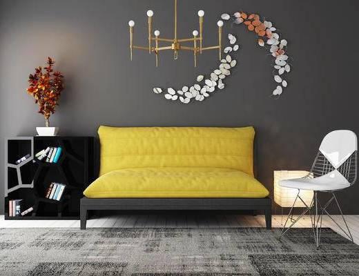 沙发, 双人沙发, 边柜, 单椅, 墙饰, 装饰柜, 摆件