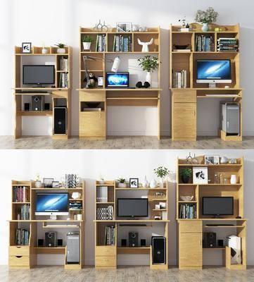 书桌, 电脑桌, 书架, 书籍, 书本, 摆件, 现代书桌, 现代