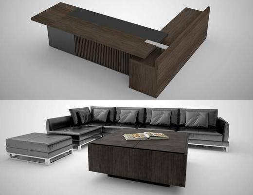 办公桌, 多人沙发, 转角沙发, 凳子, 书桌, 茶几, 现代