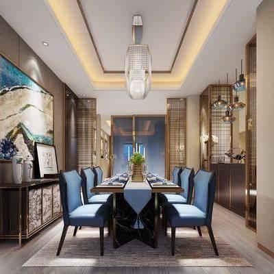 新中式餐厅, 新中式, 餐桌椅, 新中式边柜, 金属吊灯, 屏风, 隔断