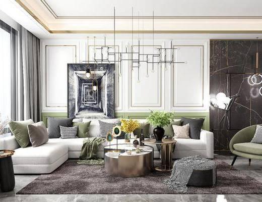 沙发组合, 茶几组合, 饰品, 摆件, 背景墙