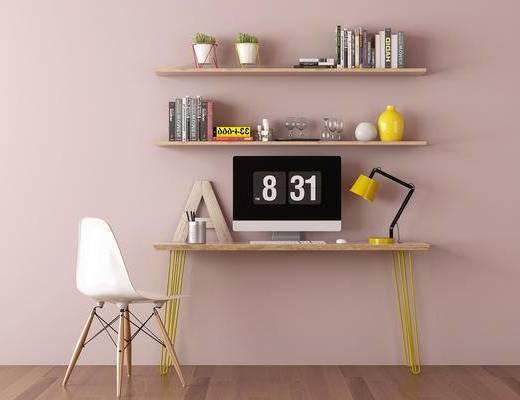 办公桌, 书桌, 装饰架, 摆件, 吊灯, 单人椅, 北欧