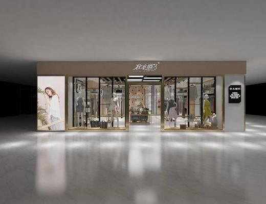 服装店, 门面门头, 前台, 衣架, 服饰, 装饰架, 模特, 现代