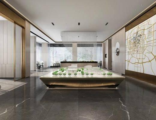 售楼部, 展示台, 墙饰, 单人椅, 现代