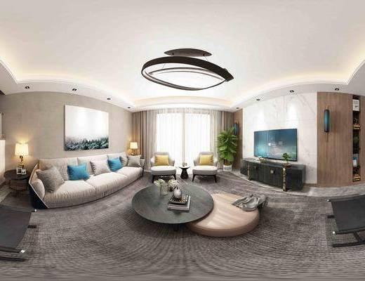 现代客餐厅全景, 复式, 楼梯, 沙发组合, 茶几, 电视柜, 挂画, 壁灯, 盆栽