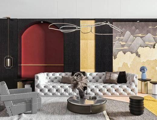 沙发, 茶几, 边几, 吊灯, 壁灯, 背景墙, 饰品摆件