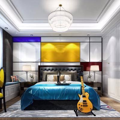 卧室, 儿童房, 双人床, 床头柜, 榻榻米, 书桌, 单人椅, 台灯, 吊灯, 摆件, 现代