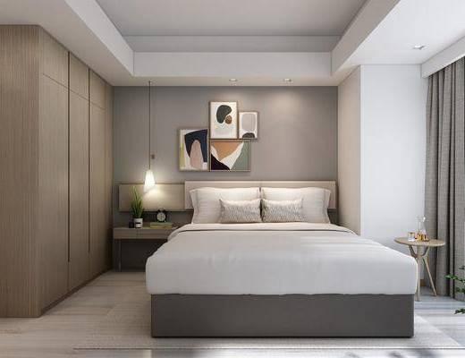 酒店客房, 双人床, 装饰画, 挂画, 组合画, 床头柜, 吊灯, 摆件, 装饰品, 陈设品, 现代