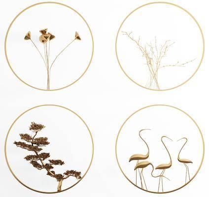 圆形金属, 墙饰组合, 挂件组合, 金属墙饰, 新中式