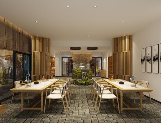 新中式茶桌, 桌椅, 摆件, 烛台, 屏风, 隔断, 竹帘, 卷帘, 假山, 吊柜