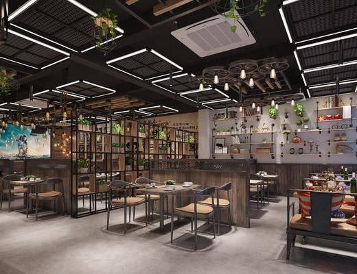 餐厅, 桌椅组合, 置物架, 隔断