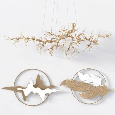 新中式墙饰, 金属树枝灯