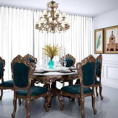 美式餐桌椅组合, 餐桌, 椅子, 单椅, 吊灯, 水晶吊灯, 装饰画, 挂画, 美式, 餐具