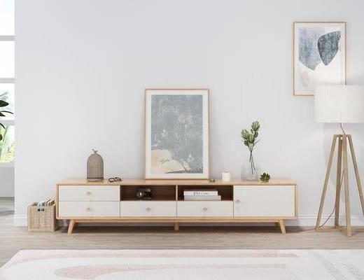 实木电视柜, 边柜组合, 摆件组合, 挂画组合, 北欧