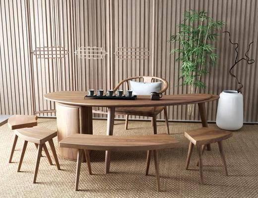 新中式, 茶桌, 组合