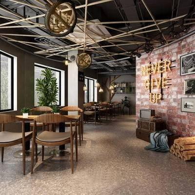工业风餐厅, 餐厅, 餐桌椅, 椅子, 吊灯, 装饰画, 绿植