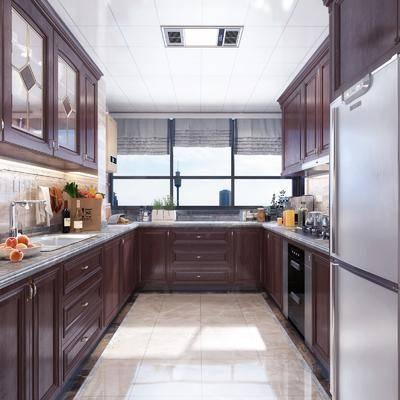 橱柜, 厨具, 冰箱, 洗手台, 厨房, 新中式