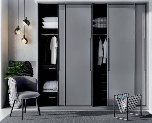 现代衣柜, 现代吊灯, 现代单椅, 衣服