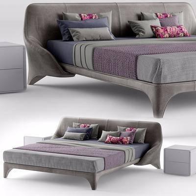 双人床, 床头柜, 现代