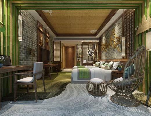 酒店客房, 双人床, 落地灯, 床头柜, 书桌, 单人椅, 凳子, 墙饰, 吊灯, 东南亚