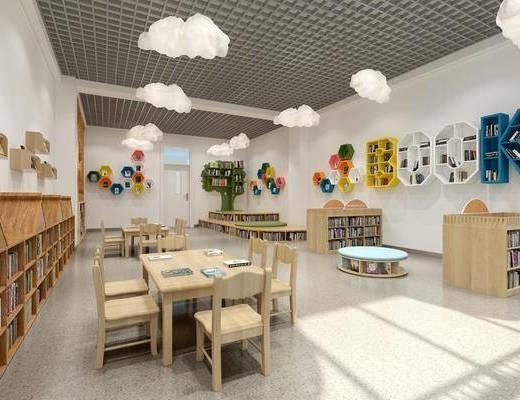幼儿园, 桌椅组合, 吊灯, 边柜