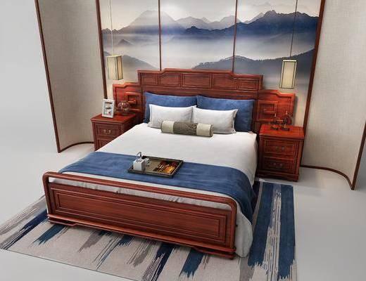 双人床, 床头柜, 吊灯, 中式
