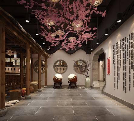 主题餐厅, 走廊, 花瓶, 干树枝, 吊灯, 中式