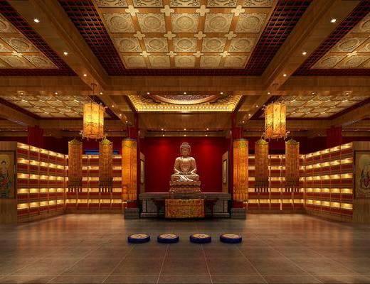 佛堂, 佛像, 装饰柜, 吊灯, 中式