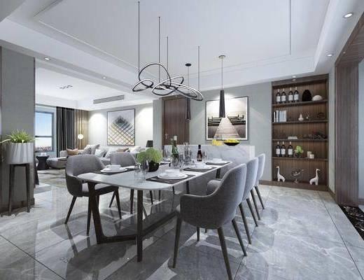 餐厅, 餐桌, 餐椅, 吊灯, 装饰画, 挂画, 餐具, 多人沙发, 转角沙发, 摆件, 装饰品, 陈设品, 现代