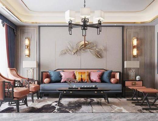 新中式客厅, 新中式餐厅, 客厅, 餐厅, 吊灯, 沙发, 壁灯, 台灯, 茶几, 边几, 案几, 餐桌, 椅子, 电视柜, 墙饰
